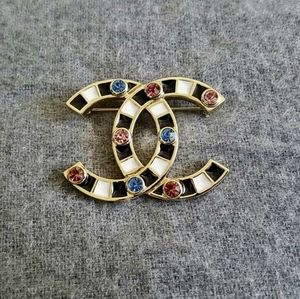 CHANEL XL Gold CC Logo, Colored Stones Brooch